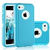 FOGEEK iPhone 5C Case, Dual Layer Anti Slip 360 Full Body Cover Case PC and TPU Shockproof Protective Compatible for Apple iPhone 5C ONLY (Light Blue)