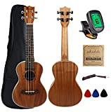 Kulana Deluxe Concert Ukulele, Mahogany Wood with Binding and Aquila Strings + Gig Bag