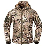 ReFire Gear Men's Soft Shell Military Tactical Jacket Outdoor Camouflage Hunting Fleece Hooded Coat Cp Large