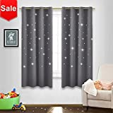 NICETOWN Gray Stars Kids Curtains - Naptime Essential Nursery Window Curtains for Kid's Room, Super Cute Drape Panels with Die-Cut Stars (2 Panels, W52 x L63-Inch, Grey)