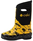 OAKI Kid's Neoprene Rain Boots, Snow Boots, Muck Boots, Construction Vehicles 4Y