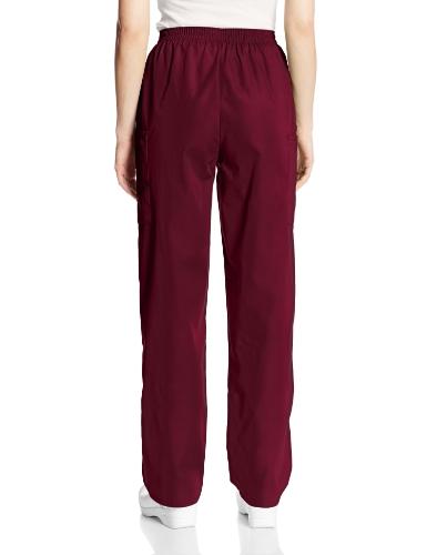 Cherokee Women's Workwear Elastic Waist Cargo Scrubs Pant, Wine, Small Petite deal 50% off 51MQ9KlR1WL
