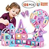 HOMOFY 124PCS Castle Magnetic Blocks Toys for Kids -3D Macaron Colors Learning & Development Building Blocks Figure Kits Toys for 3+ Years Old Girls Boys Toddlers