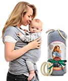 QAQADU Baby Wrap Carrier - Ring Sling for Newborn and Infant - Nursing Cover & Blanket - Free Rings and Pouch - Moby Holder - Breathable & Stretchy Cotton - Gray - Perfect Baby Shower Gift