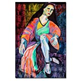 100% Hand Painted Large Size Canvas Wall Art Prints,large Size Red Dress Sexy Lady Oil Painting Feeling Picture Canvas Home Wall Decal (1, 24 X 36 inches)