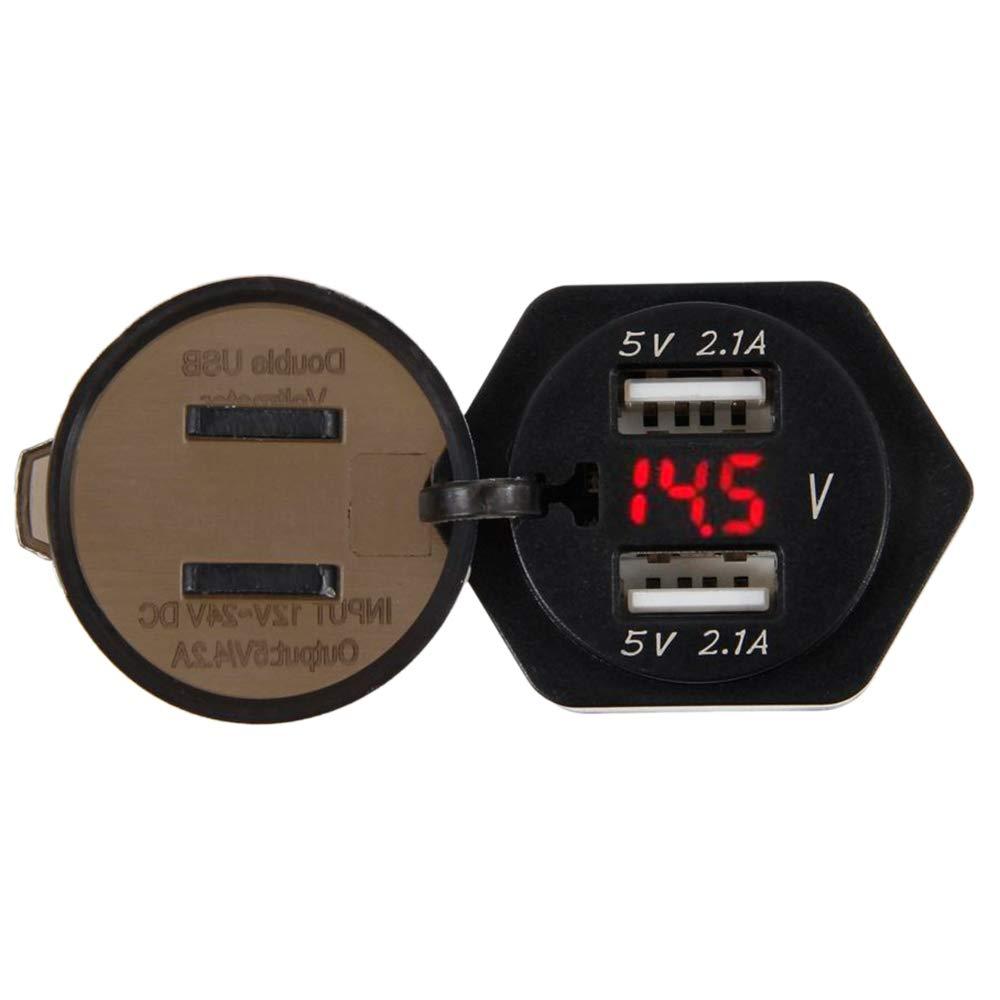 Cargador USB Dual con indicador de voltaje de batería