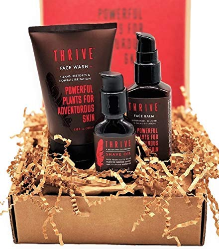 Thrive Natural Men's Skin Care Set – 3 Piece Grooming Gift Set to Wash, Shave, and Moisturize Daily; Gift for Men Made in USA with Organic & Unique Natural Ingredients for Healthy Mens Skin Care
