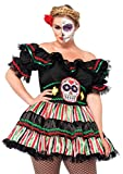 Leg Avenue Women's Plus Size Day of The Dead Sugar Skull Costume, Black/Multi-Colored, 1X / 2X