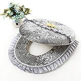 Toilet Seat Covers for Kids, Man, Women- Fashion Home Diamond Velvet Toilet Sets Two Sets of Lace Lace Toilet Cushion Cover Sets of Luxury Fantasy D1940