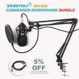 ZINGYOU-Condenser-Microphone-Bundle-BM-800-Mic-Kit-with-Adjustable-Mic-Suspension-Scissor-Arm-Shock-Mount-and-Double-Layer-Pop-Filter-for-Studio-Recording-Brocasting-BM-800-Microphone-Bundle