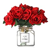Missblue Artificial Rose Flowers with Vase,FakeSilk Red Bouquet with Glass Jar Home Rope for Wedding Proposal Bride Home Decoration and The Best Gift, Red