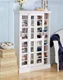 Product review for White CD/DVD/VHS Sliding Glass door Storage cabinet rack