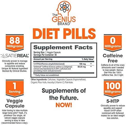 Genius Diet Pills – The Smart Appetite Suppressant That Works Fast for Safe Weight Loss, Natural 5-Htp & Saffron Supplement Proven for Women & Men – Cortisol Manger + Thyroid Support, 50 Veggie Caps 4