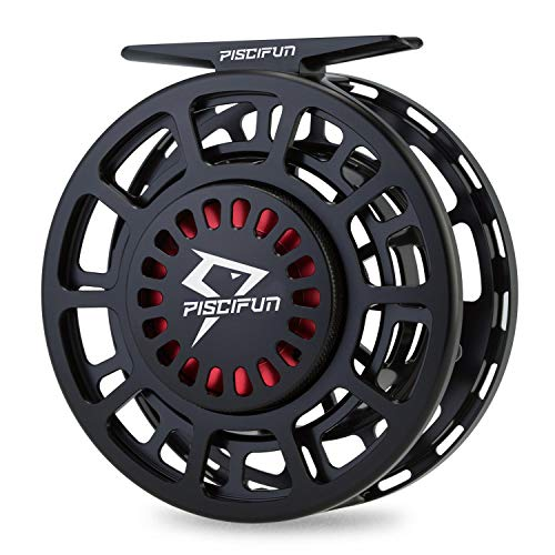 Piscifun Platte Fully Sealed Drag Large Arbor Fly Fishing Reel with CNC-machined Aluminum Alloy Body 9/10 Black