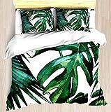 SINOVAL Classic Green Tropical Monstera Jungle Palm Leaf Print Twin/Twin XL Extra Long Size Brushed Microfiber 1 Duvet Cover 2 Pillow Shams Zipper Closure