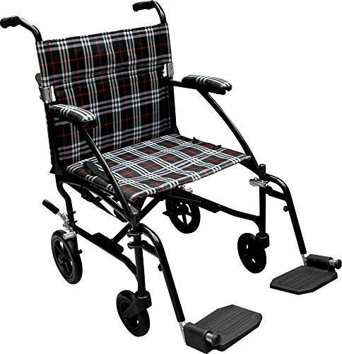 Drive Medical Fly Lite Ultra Lightweight Transport Wheelchair, Black Frame, 19'