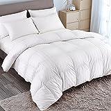 PUREDOWN Goose Down Comforter 600 Fill Power Cotton Shell 500 Thread Count Stripe Full/Queen White