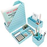 Blu Monaco Teal Desk Organizers and Accessories for Women - 4 Piece Desktop Cubicle Decor Set - Letter - Mail Organizer, Desk Organizer Caddy Tray Office Supplies, Pen Cup, Magazine File Holder - Aqua