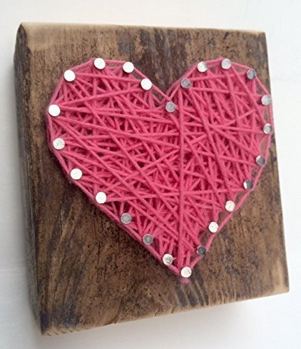 Sweet and small rustic string art hot pink wooden heart block - A unique gift for Wedding favors, Anniversaries, Birthdays, Christmas, Valentine's Day, baby girls and just because.