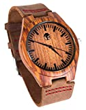 Men's Wood Watch, Natural Bamboo and Sandalwood with Quartz Movement, Genuine Leather Strap ... (Sandalwood)