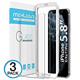 Maxboost Screen Protector for Apple iPhone Xs & iPhone X & iPhone 11 Pro (Clear, 3 Packs) 0.25mm Tempered Glass Screen Protector with Advanced Clarity [3D Touch] Work w/Most Case 99% Touch Accurate