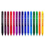 Vanstek 15 Colors Retractable Erasable Gel Pens Clicker, Fine Point(0.7), Make Mistakes Disappear, Premium Comfort Grip for Drawing Writing Planner and Crossword Puzzles