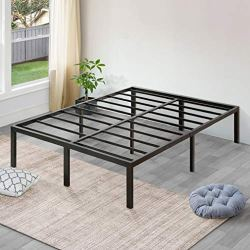 Sleeplace 18 Inch High Profile Heavy Duty Steel Slat/Basic Home Furniture/Unique Design/Mattress Foundation/Bed Frame, Black Bed Frame,Queen