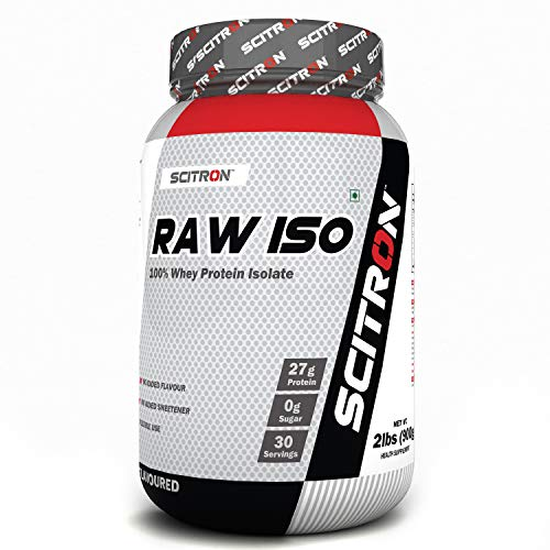 Scitron Raw ISO 100% Whey Protein ISOLATE, 27g Protein, 0g Sugar, 30 Servings, Essential & Non-Essential Amino Acids, No Flavours & Preservatives – 2 lbs (900g)