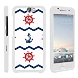 Compatible with HTC One A9 Case | HTC Aero Case [Slim Duo] Hard Shell Snap On Case Compact Fitted Cover Matte Finish on White Sea Ocean by TurtleArmor - Nautical Pattern