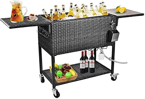 Wicker Cooler Cart, 80 Quart Rattan Rolling Cooler Cart Wicker Ice Chest Cooler Trolley for Outdoor Patio Deck Party, Beverage Bar Backyard Stand Up Cooler with Wheels and Outer Cover (Black)
