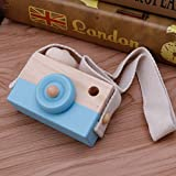 Product review for Blue Wooden Toy Camera Kids Creative Neck Hanging Rope Toy Photography Prop Gift