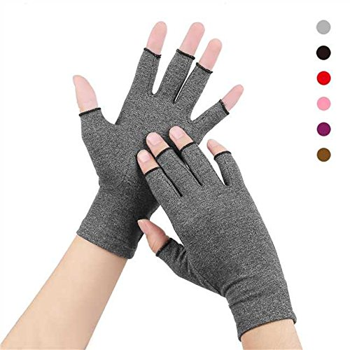 Duerer Arthritis Gloves Women Men for RSI, Carpal Tunnel, Rheumatiod, Tendonitis, Fingerless Hand Thumb Compression Gloves Small Medium Large XL for Pain Relief (Medium, Gray)