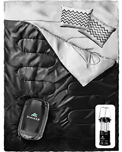 HiHiker-Double-Sleeping-Bag-Queen-Size-XL-Bonus-Camping-Light-for-Camping-Hiking-Backpacking-and-Cold-Weather-Portable-Waterproof-and-Lightweight-2-Person-Sleeping-Bag