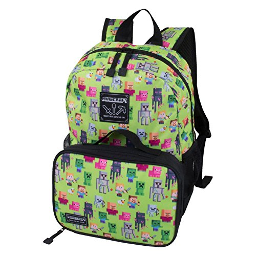 JINX Minecraft Overworld Sprite Kids Backpack and Lunch Kit Combo (Green, 16')