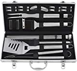 grilljoy Birthday Gift with Gift Wrapping Box for Man Woman - 20pc BBQ Grill Tool Set, Stainless Steel Accessories in Aluminum Storage Case, Complete Outdoor Grilling Barbecue Utensils