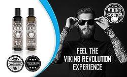 Viking Revolution Beard Wash & Beard Conditioner Set w/Argan & Jojoba Oils – Softens, Smooths & Strengthens Beard Growth - Natural Peppermint and Eucalyptus Scent - Beard Shampoo w/Beard Oil (5 oz)  Image 2