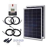 KOMAES 2pcs 100 Watt Polycrystalline Solar Panels 12 Volt Battery Charging for RV Boat,High Efficient 200 Watts Solar Starter Kit