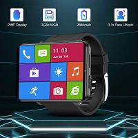 "TICWRIS Andriod Smart Watch, GPS Android Smartwatch, 4G LTE with 2.86"" Touch Screen, Face Unclok Phone Watch with 2880mAh Battery, IP67 Waterproof Sport Watch,3GB+32GB Andriod Watch for Men (Black)"