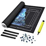 MDrebel Puzzle Roll Up Mat, 46' x 26' Felt Mat for puzzles, Store and Transport Jigsaw Puzzles Up to 1500 Pieces, Thickening version 2mm Puzzle Storage Mat with 1 Inflatable Tube, 1 Pump and 3 Elastic