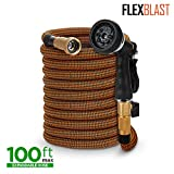 Expandable Garden Hose - 3 sizes: 50ft, 75ft, 100ft - Kink-Free - Lightweight - Flexible - Expands for Easy Use -Contracts for Easy Storage-Brass Fittings -8 Function Spray Gun -Orange and Green (100)