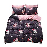 Ludan 3 Pieces Unicorn Kids Bedding Duvet Cover Set Reversible Twin Full Queen King Teen Bedding Collections Set for Boys Girls Zipper Closure,Gifts for Friends (Unicorn, Twin)