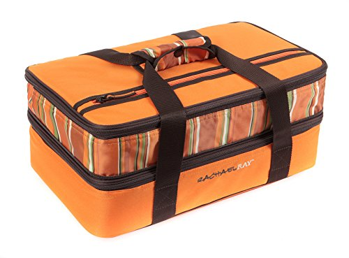 Rachael Ray Expandable Lasagna Lugger, Double Casserole Carrier for Potluck Parties, Picnics, Tailgates - Fits two 9'x13' Casserole Dishes, Orange