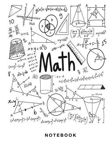 Math Notebook: 1/2 inch Square Graph paper pages, Large (8.5 x 11) inches and White Paper