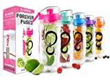 Live Infinitely 32 oz. Infuser Water Bottles - Featuring a Full Length Infusion Rod, Flip Top Lid, Dual Hand Grips & Recipe Ebook Gift (Hot Pink, 32 oz)
