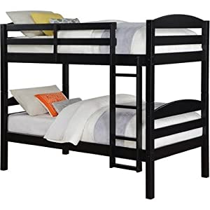 Mainstays Twin over Twin Wood Bunk Bed – Black