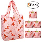 Grocery Shopping Bags Foldable With Attached Pouch Cute Reusable Grocery Bags 5 Pack Bulk Polyester Sturdy Machine Washable Lightweight (Goldfish)