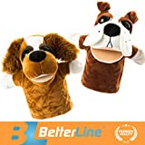 BETTERLINE Animal Hand Puppets Set of 2 Premium Quality, 9.5 Inches Soft Plush Hand Puppets for Kids- Perfect for Storytelling, Teaching, Preschool, Role-Play Toy Puppets (2 Dogs)