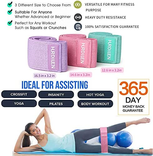 Hurdilen Resistance Bands Loop Exercise Bands Booty Bands,Workout Bands Hip Bands Wide Resistance Bands Hip Resistance Band for Legs and Butt,Activate Glutes and Thigh 5
