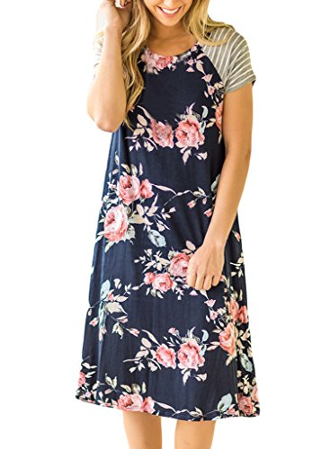 51MzizkjUIL Floral Midi Dress with striped sleeves Round Neck T Shirt Dresses Soft and Comfortable Fabric,Perfect for Casual,Vacation,Party etc