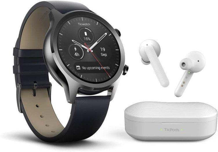 TicWatch Bundle with TicWatch C2 Smartwatch Wear OS, GPS NFC IP68 Waterproof - Shadow + TicPods Free True Wireless Earbuds - Ice